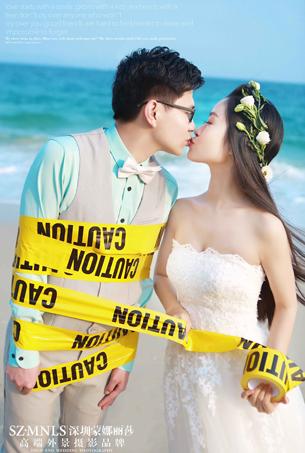 浪漫海景婚纱摄影客照作品欣赏