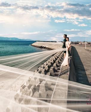 山海长堤主题婚纱摄影