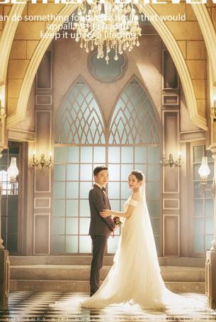 深圳内景主题婚纱照客照 蒙娜丽莎婚纱摄影 欧美风婚纱照