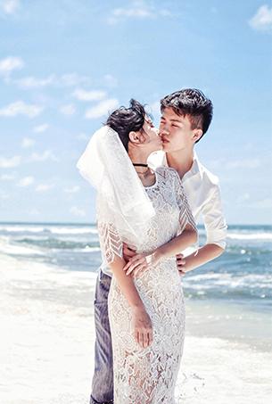 八月客照欣赏 浪漫海景婚纱摄影作品