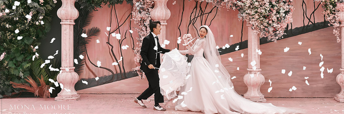 粉色婚礼 深圳蒙娜丽莎婚纱摄影蓝谷外景基地街拍主题作品
